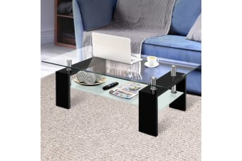 Artiss Coffee Table 2 Tier Tempered Glass Stainless Steel Storage Shelf Modern