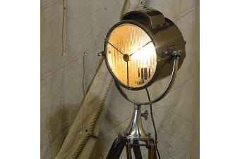 Vintage Replica Coast Guard Rosewood Patrol Spotlight Floor Lamp 1.8m