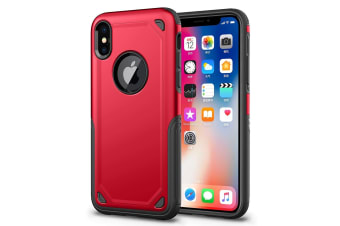 For iPhone XS Max Cover Shockproof Rugged Armour Shielding Shield Phone Case Red