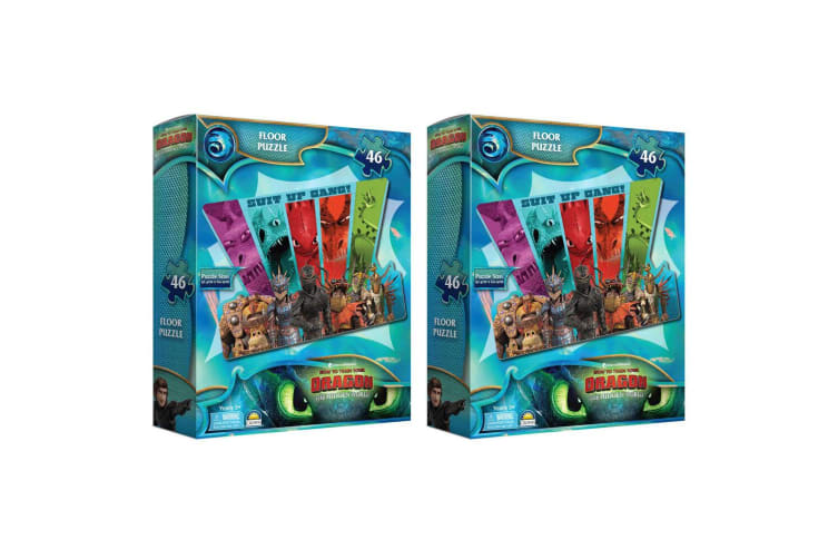 2x 46pc Dream Works How to Train Your Dragon Floor Puzzle Game Kids Toys w/  Box