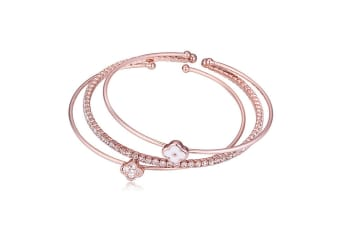 Clover Swarovski Crystal Bangle w/Swarovski Crystals-Rose Gold/White
