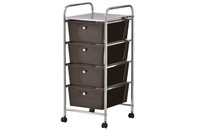 2x BoxSweden Home/Office Organiser 4 Drawers Storage Metal Trolley w/Wheels BLK
