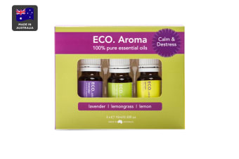 ECO. Aroma Calm & Destress Essential Oil Trio (Lavender, Lemon & Lemongrass)