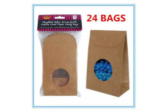 24 x Delightful BROWN PAPER KRAFT LOLLY CANDY RETRO BAGS WINDOW FACED BAGS CRAFT