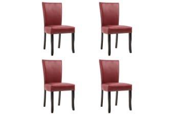 vidaXL Dining Chairs 4 pcs Wine Red Faux Leather