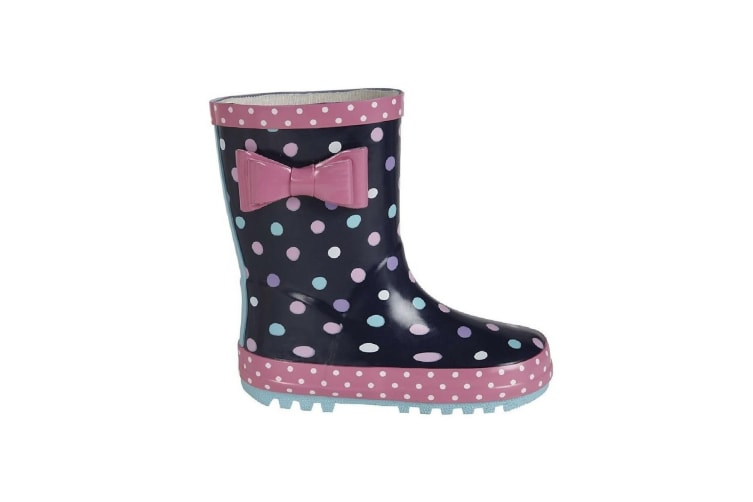 Stormwells Girls Bow Trim Waterproof Wellington Boots (Navy Blue/Pink) (12 UK Junior)