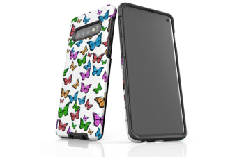 For Samsung Galaxy S10 Case  Armour Tough Cover  Colourful Butterflies