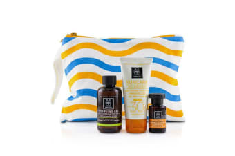 Apivita Suncare Set: Suncare Oil Balance Face Cream SPF30 - Tint 50ml + Purifying Gel 75ml + Protective Hair Oil 3pcs+1bag