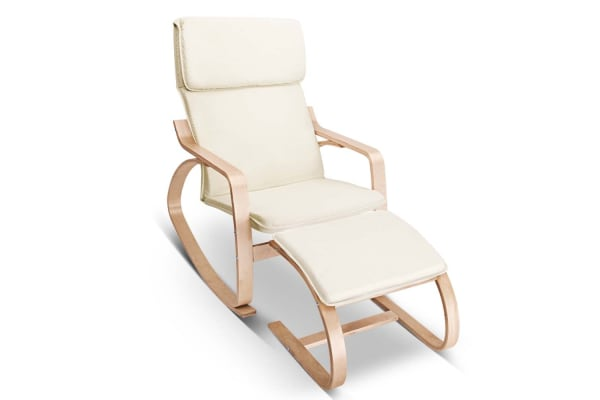 Birch Plywood Fabric Lounge Rocking Chair with Foot Stool (Beige)