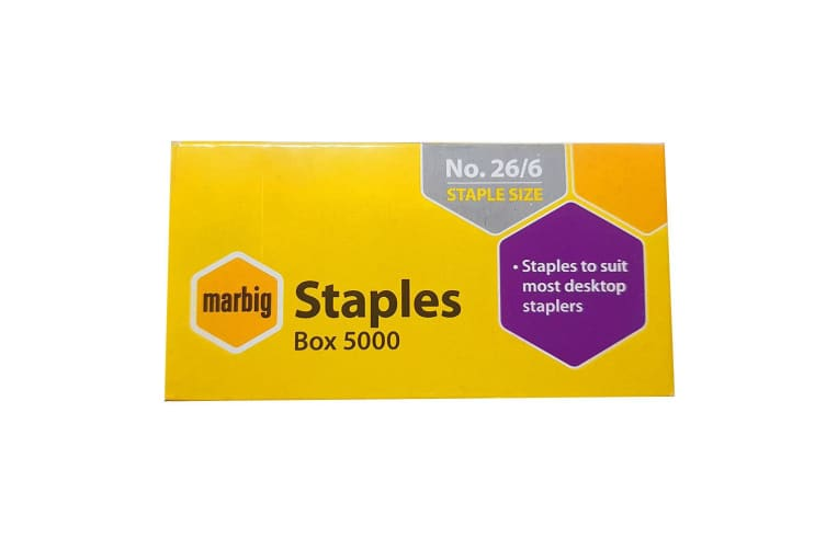 6PK Marbig Staples 26/6 Box 5000 for Staplers/Papers Office/Home Use/Essentials