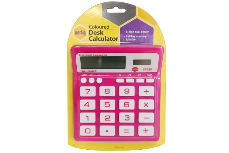 Marbig 8 Digit Home/Office Calculator Large Display/Solar/Battery Powered Pink