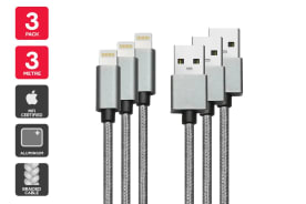 3 Pack Apple MFI Certified Braided Lightning to USB Cable (3m)