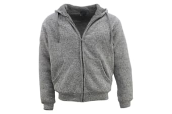 Men's Thick Winter Sherpa Fur Hoodie Zip Up Hooded Jumper Coat Jacket Sweater  - Light Grey Marle