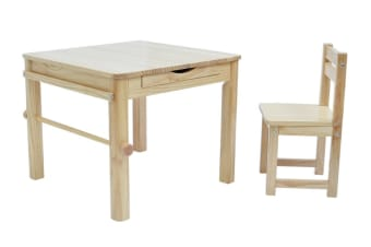 TikkTokk Little Boss Square Art Table & Chair Set - Natural