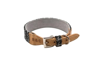 Ralph & Co Ascot Tweed/Leather Dog Collar (Black Tweed)