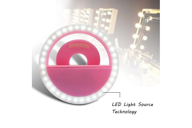 Rechargeable Selfie LED Light Flash Fill Ring Clip Camera for Samsung iPhone NEW  -  Black