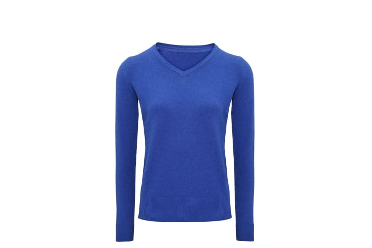 Asquith And Fox Womens/Ladies V-Neck Sweater (Royal Heather) (L)