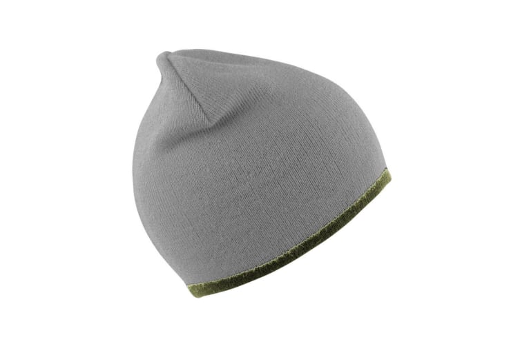 Result Unisex Reversible Fashion Fit Winter Beanie Hat (Stone/Olive) (One Size)