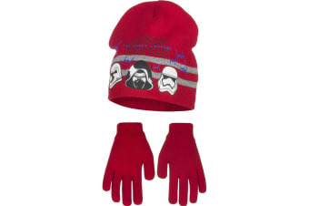 Star Wars The Force Awakens Childrens Boys Helmets Hat And Gloves Set (Red)