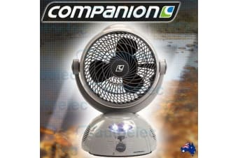 COMPANION RECHARGEABLE PORTABLE SWING FAN+LED LIGHT OFFICE CARAVAN CAMP COMP356