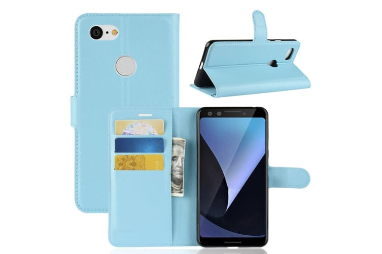 For Google Pixel 3 Leather Wallet Case Blue Lychee Texture Cover Card Slots