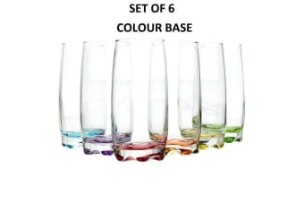 Set of 6 Clear Glass Tumbler Coloured Base Water Drinking Glasses Drink 390ml