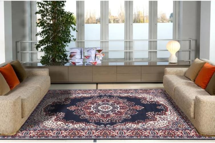 Traditional Pattern Medallion Rug Navy Red 230x160cm