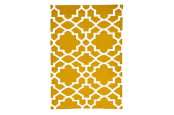 Flat Weave Trellis Design Gold White Rug