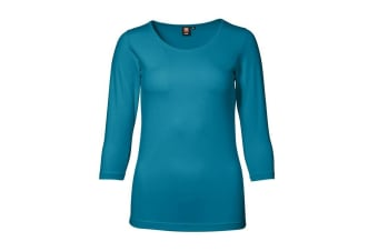 ID Womens/Ladies 3/4 Sleeve Stretch Fitted T-shirt (Turquoise) (M)