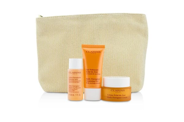 Clarins Radiance & Moisture Set: Daily Energizer Cream 30ml + Cleansing Gel 30ml + Booster 30ml + Bag (3pcs+1bag)