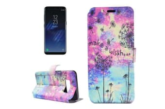 """For Samsung Galaxy S8 Wallet Case """"Make A Wish"""" Dandelion Pattern Leather Cover"""