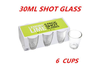 6 x Glass Shot Cups 30ml Vodka Shot Whiskey Wine Beer Tea Glass Drinking Cup Party W