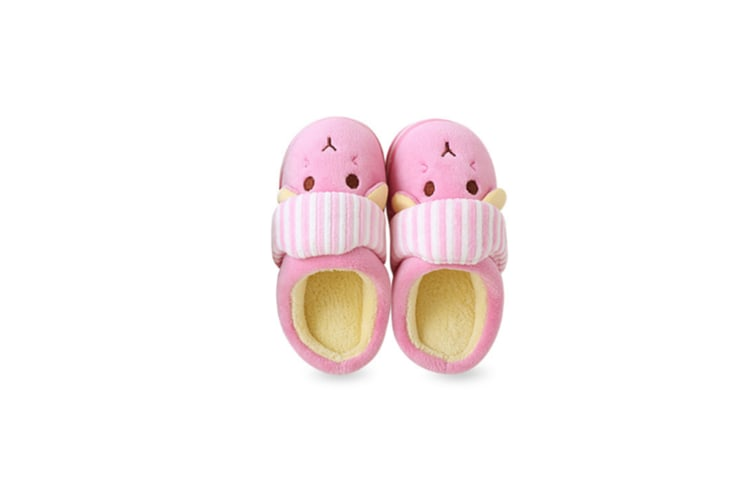 Unisex Cute Home Slippers Kid Fur Lined Winter House Slippers Warm Indoor Slippers - Pink Pink 18-19(16.5Cm Length)