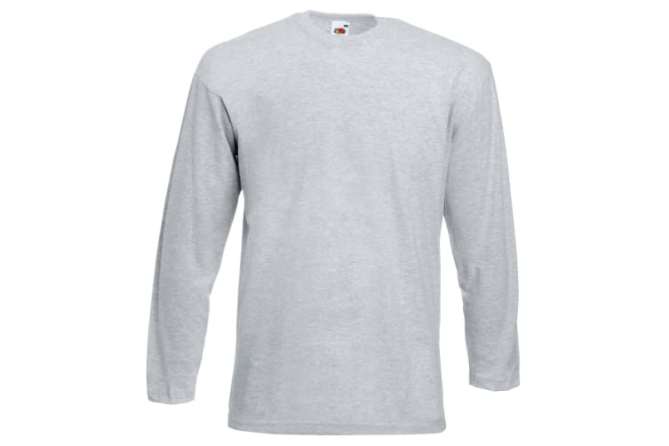 Fruit Of The Loom Mens Valueweight Crew Neck Long Sleeve T-Shirt (Heather Grey) (L)