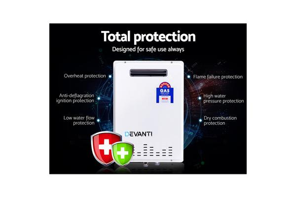 DEVANTI Gas Water Heater 30L Instant Hot Outdoor System Natural Gas (White)