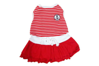 Pet Brands Happy Puppy Sporty Sailor Dog Dress (Red)
