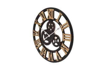 40cm Handmade Clock Large Gear Wall Clock Vintage Rustic Wooden luxury art vintage - Gold