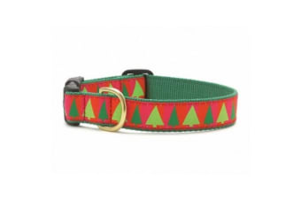 Up Country Festive Christmas Trees Dog Collar (Red/Green)