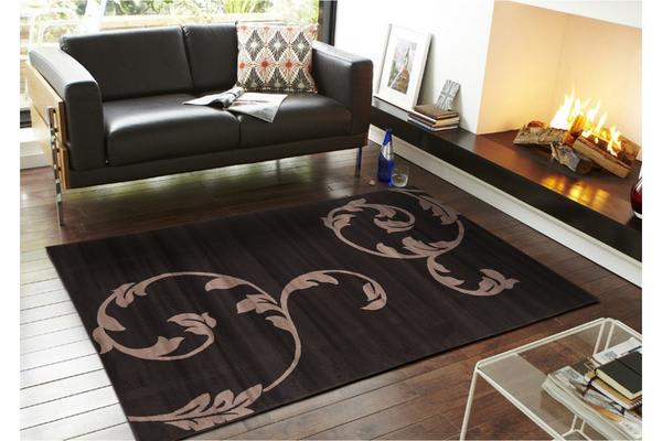 Ultra Modern Black Leaf Pattern Rug 280x190cm
