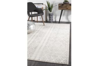 Amelia Bone Ivory & Grey Cable Knit Durable Rug 290x200cm