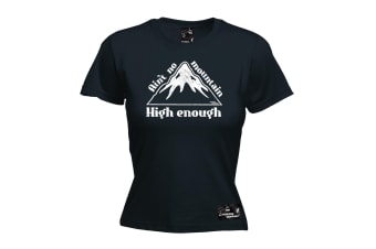 Powder Monkeez Skiing Snowboarding Tee - Aint No Mountain High Enough - (Small Black Womens T Shirt)
