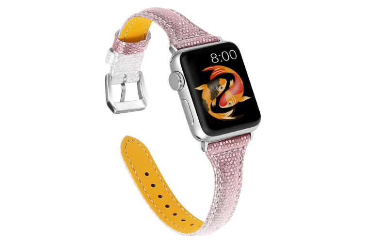 Woman Leather Gradient Color Bands , Replacement Strap Wristband For Apple Watch Series 5/4/3/2/1 (POWDERSILVER, 38/40mm)