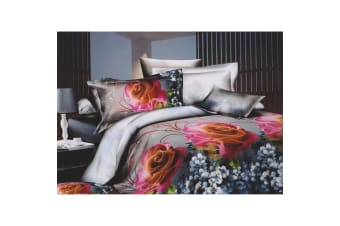 Grey & Pink Rose Printed Bedding Set Collection (Grey/Pink) (Double Bedspread)