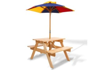 Kids Wooden Picnic Table Set with Umbrella (Natural)