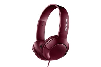 Philips BASS+ On-Ear Headphones - Red (SHL3070RD)