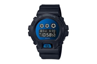 Casio G-Shock Digital Metallic Blue Mirror Face Watch with Resin Band - Black/Blue (DW6900MMA-2D)