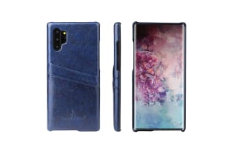For Samsung Galaxy Note 10+ Plus Case Blue Deluxe PU Leather Back Shell Cover