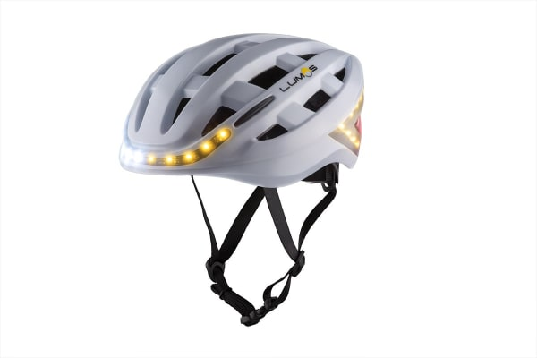 Lumos Smart Helmet with Built-In Lights and Indicators (Pearl White)