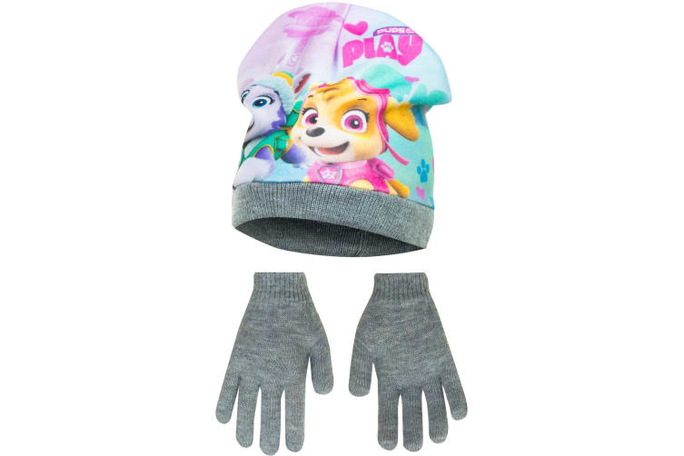 Paw Patrol Childrens Girls Pups At Play Winter Hat And Gloves Set (Grey) (52cm)