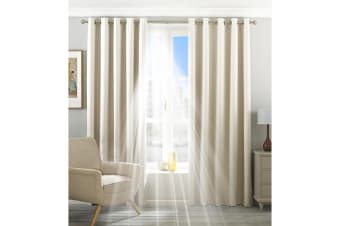 Riva Home Eclipse Blackout Eyelet Curtains (Ivory) (66 x 72in (168 x 183cm))